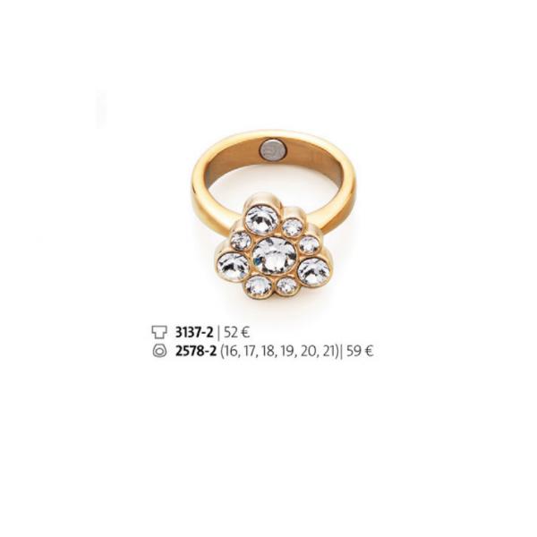 Inel placat cu aur de 18 k cu cristale swarovski – cod 3137-2 / 2578-2 Imagine 1