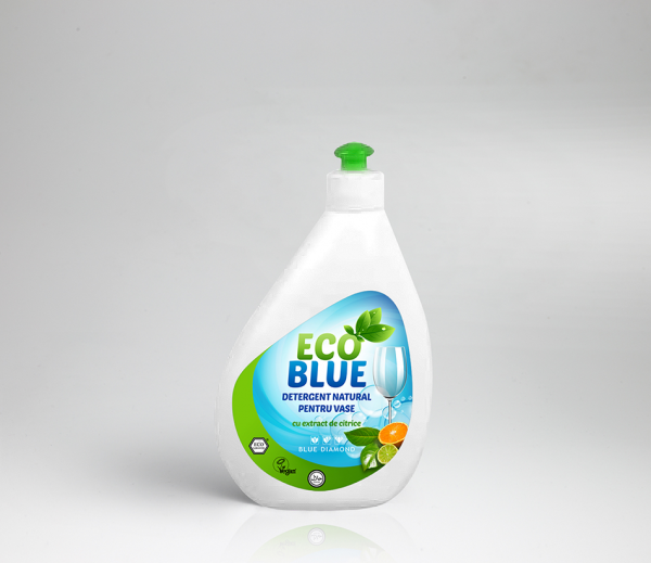 Blue Diamond – EcoBlue detergent lichid natural pentru vase (500 ml) Imagine 1