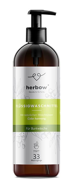 Detergent de rufe colorate cu miros de ceai verde Herbow (Bio) – Color Harmony 1000 ml Imagine 1