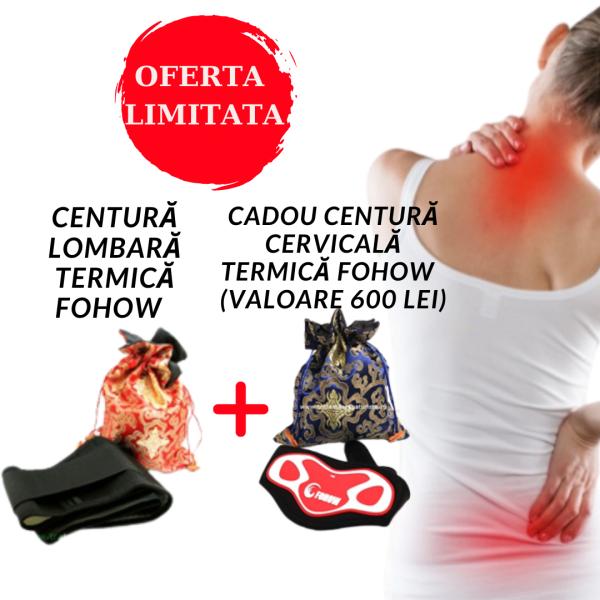 OFERTA – Centura lombara – multiple actiuni in folosul sanatatii FOHOW + Centură cervicală termică de Faradizare FOHOW Imagine 1