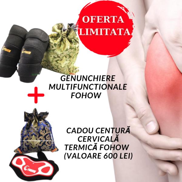 OFERTA – Genunchiere multifunctionale FOHOW + Centură cervicală termică de Faradizare FOHOW Imagine 1